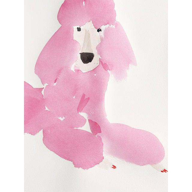 """30""""x30"""" Pink Poodle Original Watercolor Deckled Edges"""