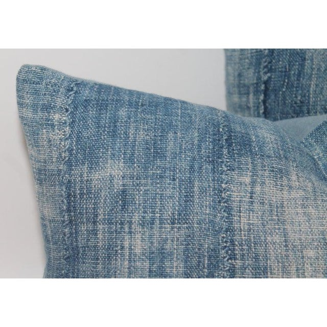Blue 19th Century Linen Pillows - A Pair For Sale - Image 4 of 6