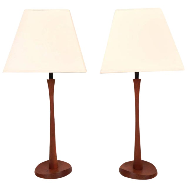 Mid-Century Modern Teak Table Lamps - a Pair For Sale