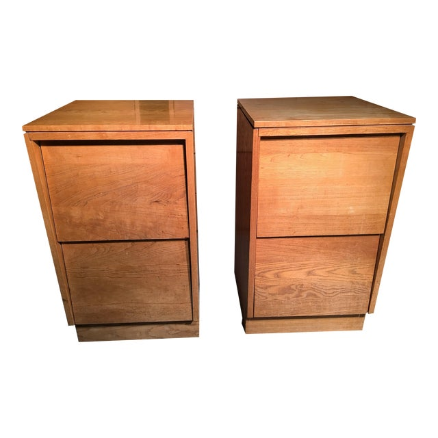 Mid-Century Modern Solid Wood Nightstands - A Pair - Image 1 of 5