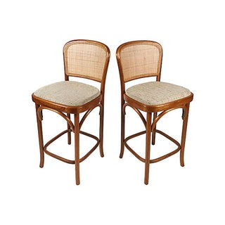 Bentwood and Cane Bar Stools, Pair Preview