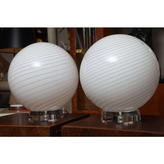 Italian Extra Large Vetri Murano Glass & Lucite Globe Table Lamps - a Pair For Sale - Image 3 of 9