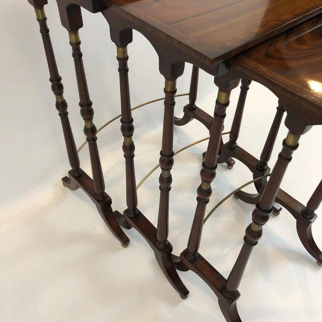 Brown Regency Zebra Wood Nesting Tables - Set of 3 For Sale - Image 8 of 13