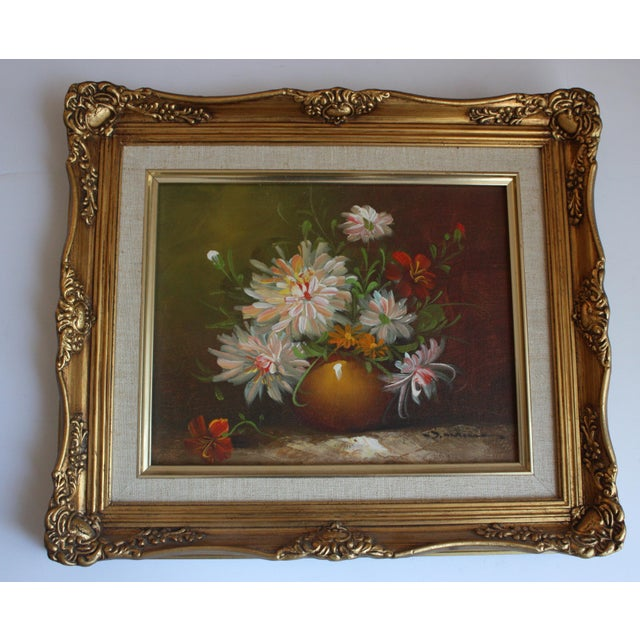 Framed Chrysanthemum Oil Painting - Image 2 of 4