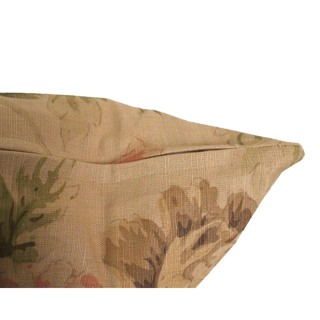"""English George Smith """"Blown Peonies"""" Linen Accent Pillows, a Pair For Sale - Image 3 of 5"""