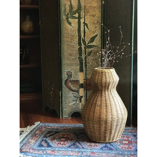 Tall Sculptural Vintage Wicker Double Gourd Basket For Sale In Seattle - Image 6 of 8