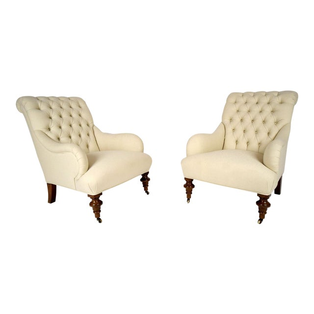 Continental-Style Tufted Bergeres - A Pair - Image 1 of 11