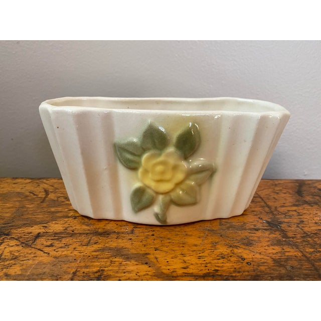 Cream Vintage Ceramic Planter With Yellow Rose For Sale - Image 8 of 8