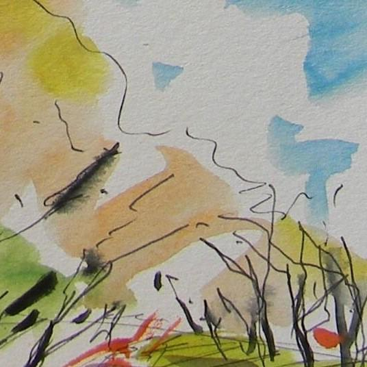 Contemporary Jose Trujillo Original Impressionist Watercolor Painting - Grove Orchard Person For Sale - Image 3 of 4