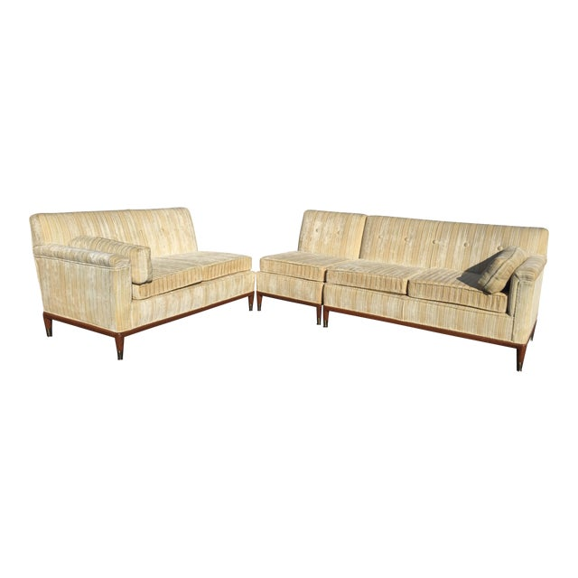 Mid Century Modern Striped Sectional Sofa Set Of 3