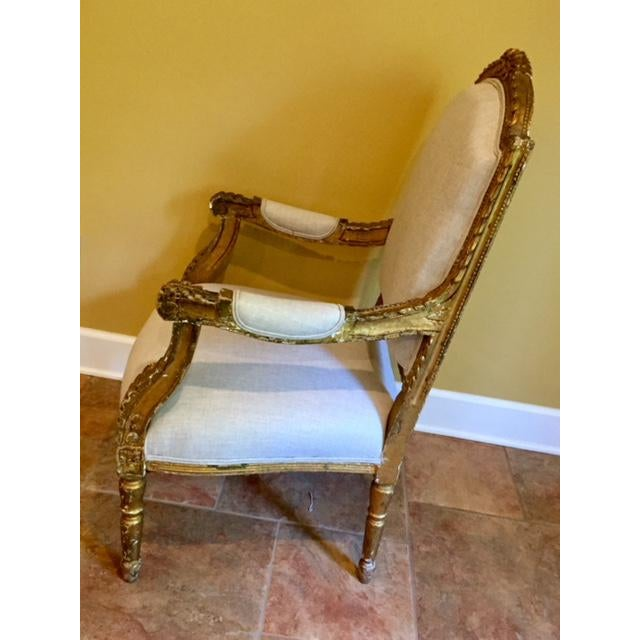 This French pair is heavy carved wood with gilding frames from the 19th century and new linen-like cotton fabric, cushions...