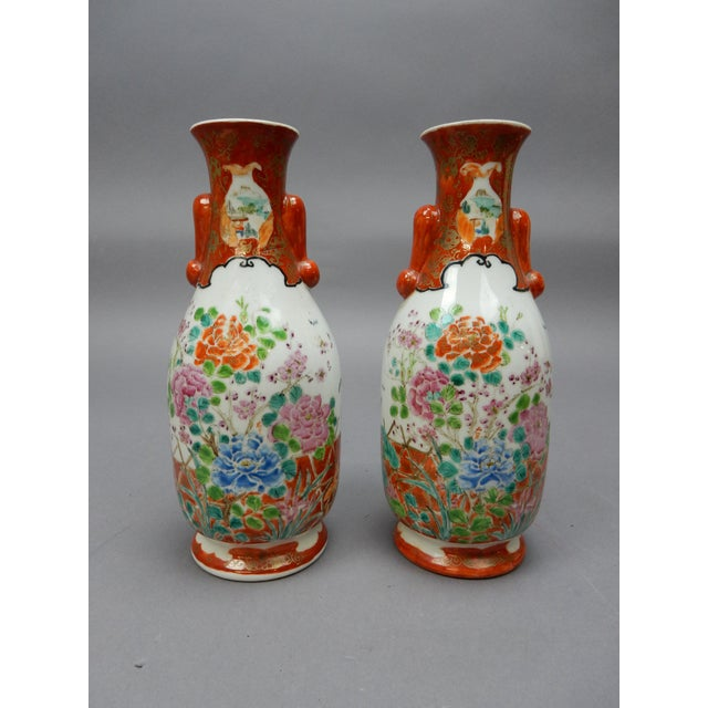 Gorgeous Pair Of Antique Japanese Kutani Hand Painted Vases Chairish