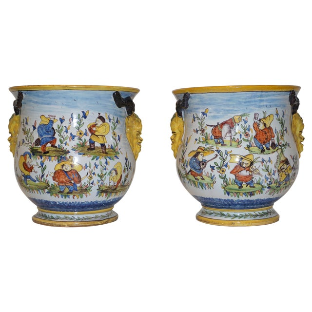 1870s French Yellow, Blue, Green, Red, White Majolica Jardinières / Planters - a Pair For Sale