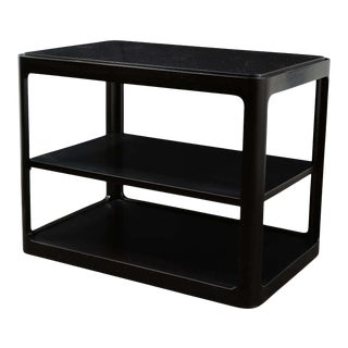 Mid-Century Modern Two-Tier Ebonized Walnut Side Table Signed Dunbar For Sale