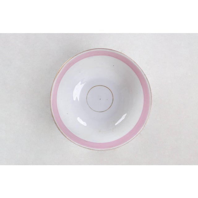 Vintage Rs Prussia Porcelain Bowl Half Glazed in Pink With Small Blue Blossoms For Sale - Image 4 of 5