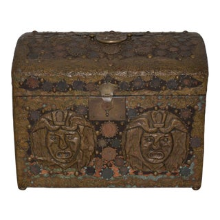 Vintage 1940s Folk Art Copper Box For Sale