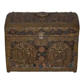 Vintage 1940s Folk Art Copper Box For Sale