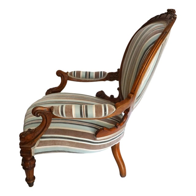 Antique Walnut Louis XVI Fauteuil and Footstool For Sale - Image 4 of 11
