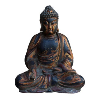 Chinese Golden Brown Wooden Meditation Sitting Buddha Statue For Sale