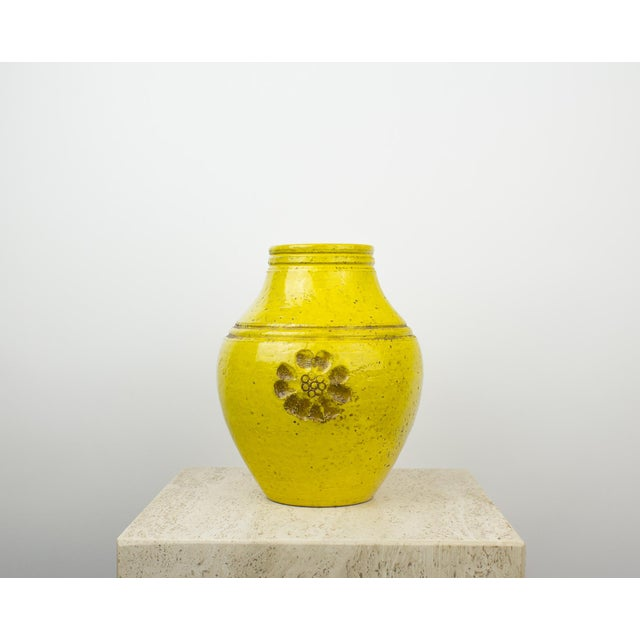 Bright yellow ceramic / pottery flower vase by Rosenthal Netter. Designed for the Bitossi collection. Rare collectible...