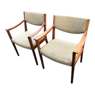 Pair of Solid Walnut Gunlocke Armchairs For Sale