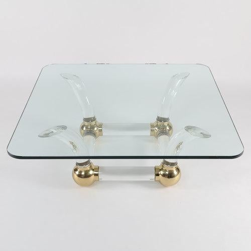 1970S SABRE-LEG LUCITE, BRASS AND GLASS COFFEE TABLE For Sale - Image 10 of 10
