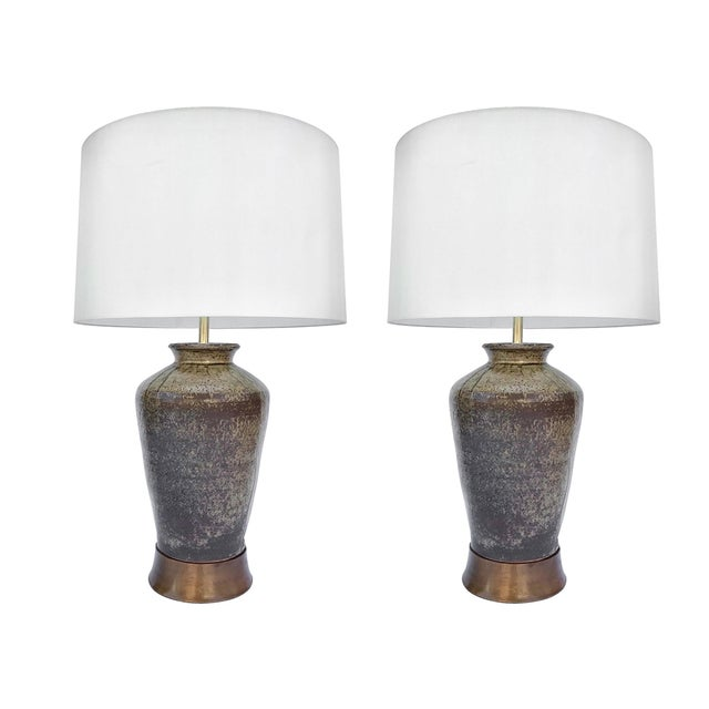 Pair of Spanish Jar Ceramic Table Lamps For Sale - Image 4 of 4