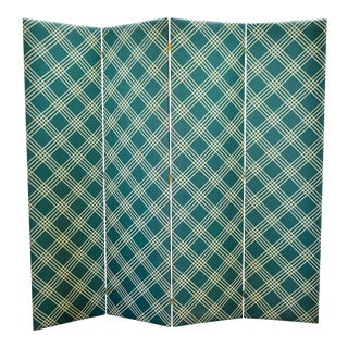 Plaid Fabric Folding Screen For Sale