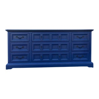 Lacquered Vintage Black and Napoleonic Blue Dixie 9 Drawer Dresser