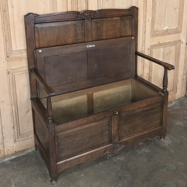 Antique Country French Provincial Hall Bench For Sale In Dallas - Image 6 of 12