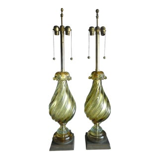 Monumental Barovier and Toso Pea Green Murano Glass Lamps - A Pair For Sale