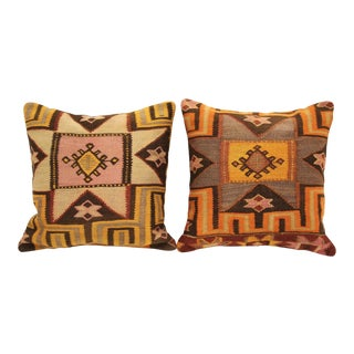 Turkish Tribal Kilim Cushions - A Pair