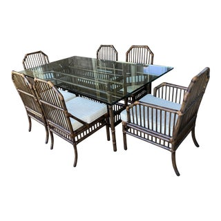 1980s McGuire Style Willow and Reed Glass Top Dining Set - Set of 7 For Sale