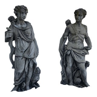 Cupid Garden Statues - A Pair For Sale