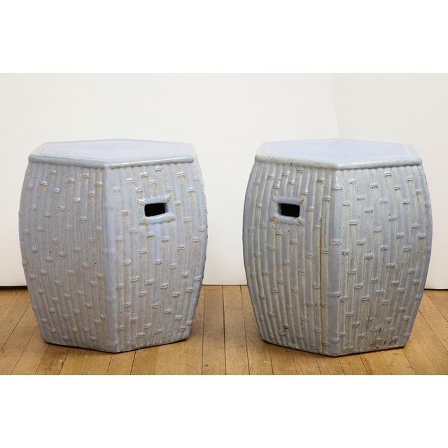 Faux Bamboo Garden Stools - A Pair For Sale - Image 4 of 13