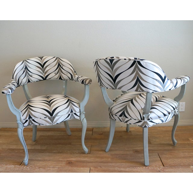 Vintage Art Deco Style Arm Chairs - Pair - Image 5 of 8