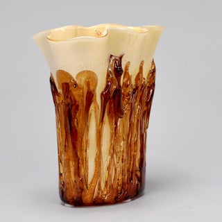 Tall Cream Color Murano Vase Encased in Applied Gold Glass Preview