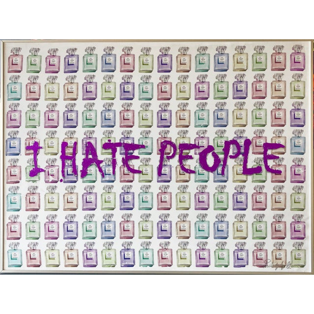 """""""I Hate People"""" Framed Mixed Media Painting by Italian Pop Artist For Sale - Image 12 of 12"""