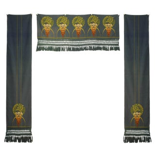 English Arts and Crafts Floral Valances-Set of 3 For Sale