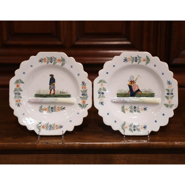 Ceramic Late 19th Century French Hand-Painted Faience Decorative Dishes Signed Hb For Sale - Image 7 of 7