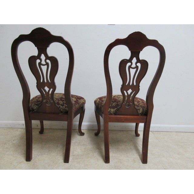 Red Thomasville Solid Mahogany Chippendale Dining Chairs - A Pair For Sale - Image 8 of 10