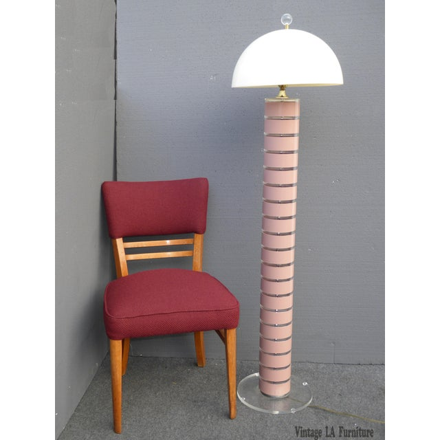1980's Mid Century Modern Stacked Lucite Floor Lamp Light by Optique - Image 3 of 11