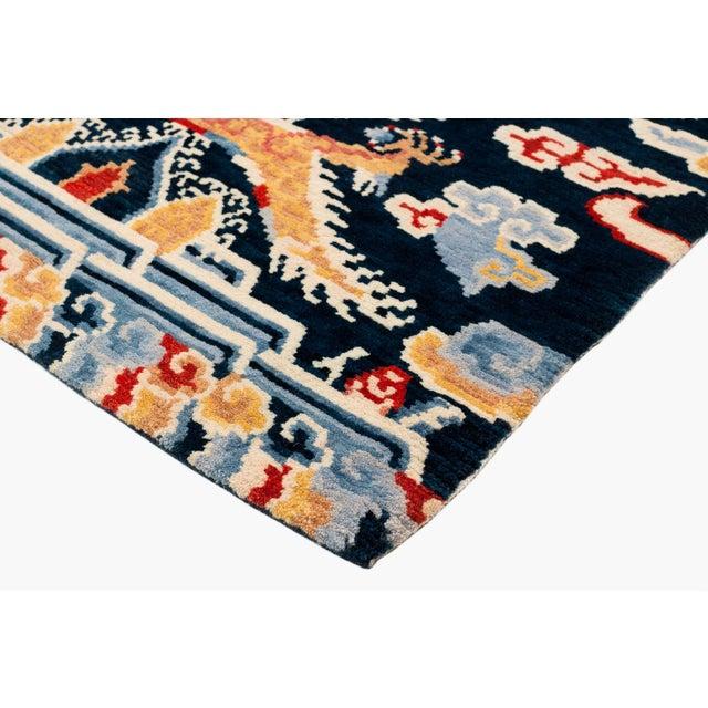 Asian Indigo Blue, Red, Green, Orange Wool Tibetan Double Dragon Area Rug For Sale - Image 3 of 8
