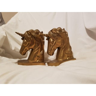 Brass Unicorn Bookends - a Pair Preview