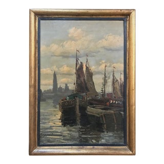 Antique Framed Oil Painting on Board by Reynaert