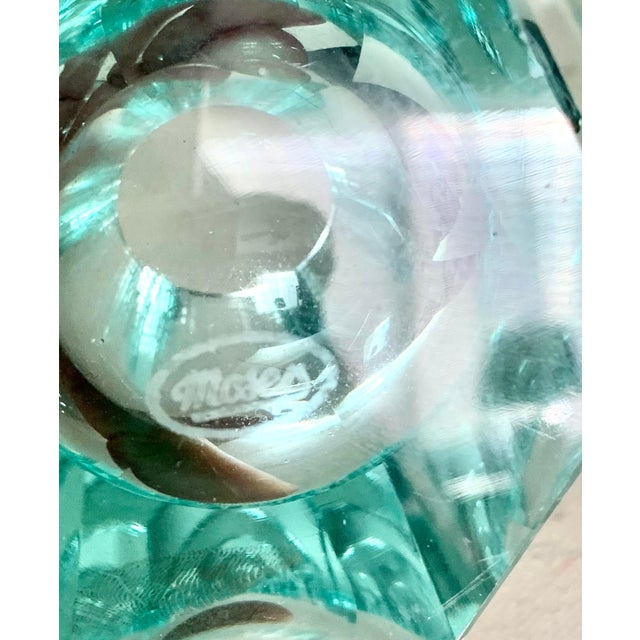 Moser Modern Turquoise Crystal Votives - Set of 2 For Sale In San Diego - Image 6 of 7