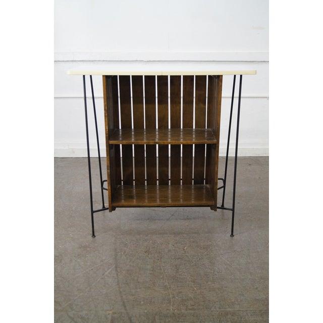 Arthur Umanoff Arthur Umanoff Iron Frame Wood Slat Bar For Sale - Image 4 of 10