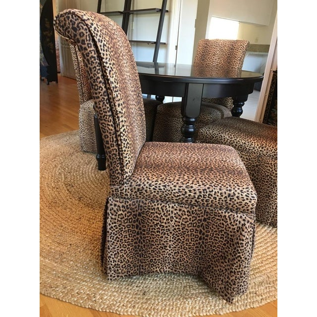 Group of Four Leopard Print Upholstered Side Chairs & Table - Image 6 of 9