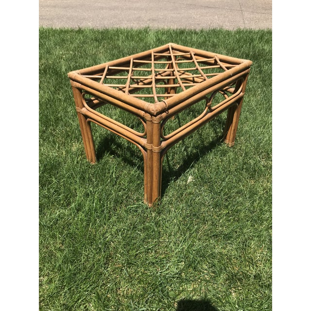 Vintage Bamboo Rattan Side Table For Sale In Minneapolis - Image 6 of 8