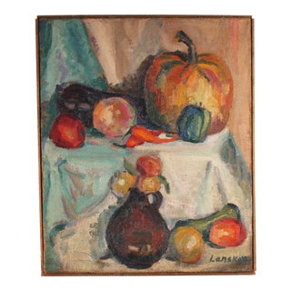 Early 20th Century Andre Lanskoy Signed Oil on Burlap Still Life Painting For Sale